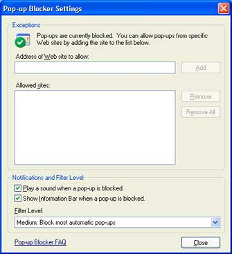 Pop-Up Blocker Settings scfeen